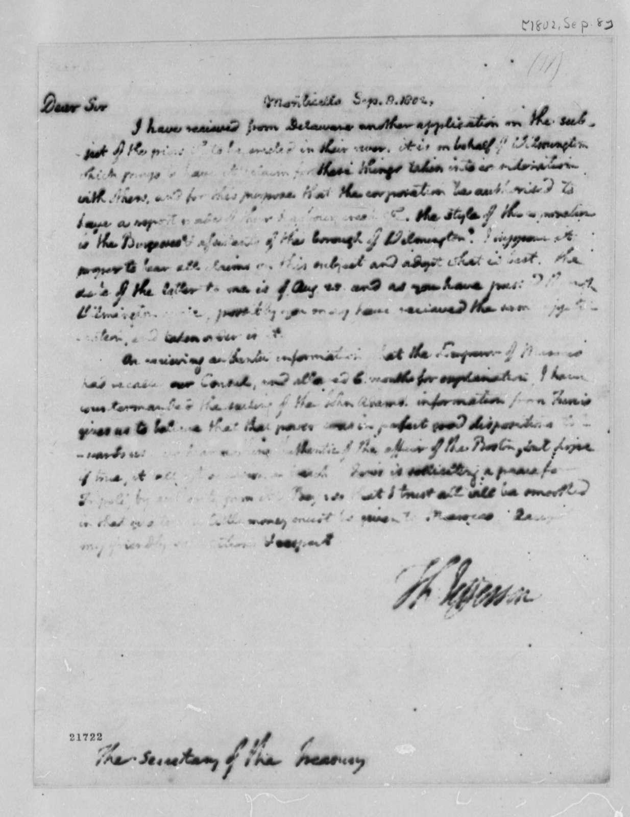Thomas Jefferson to Albert Gallatin, September 8, 1802
