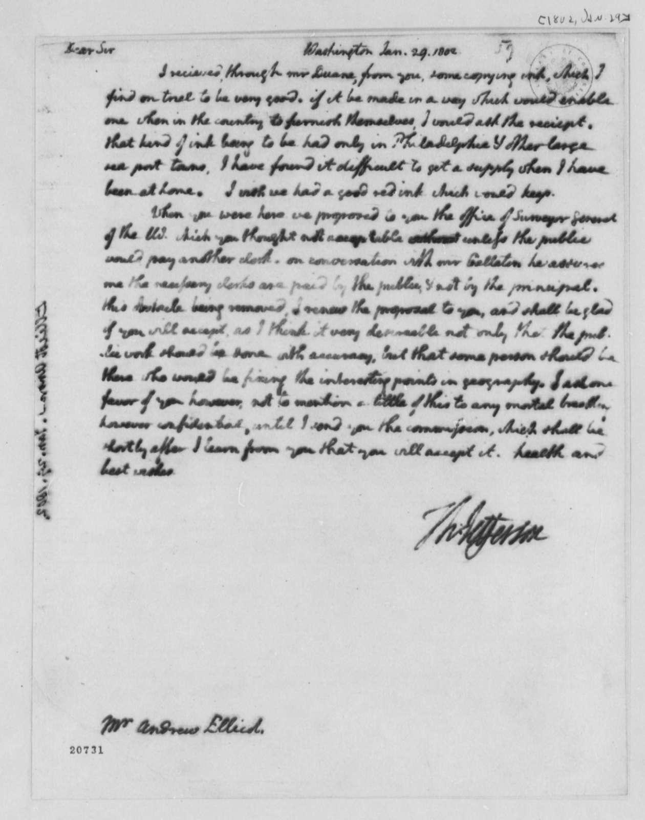 Thomas Jefferson to Andrew Ellicott, January 29, 1802