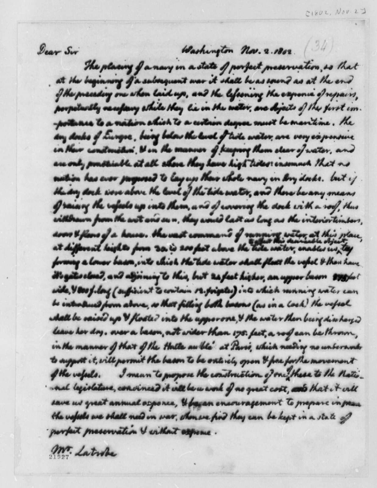 Thomas Jefferson to Benjamin H. Latrobe, November 2, 1802