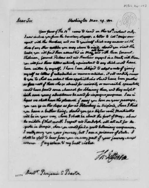 Thomas Jefferson to Benjamin Smith Barton, March 29, 1802