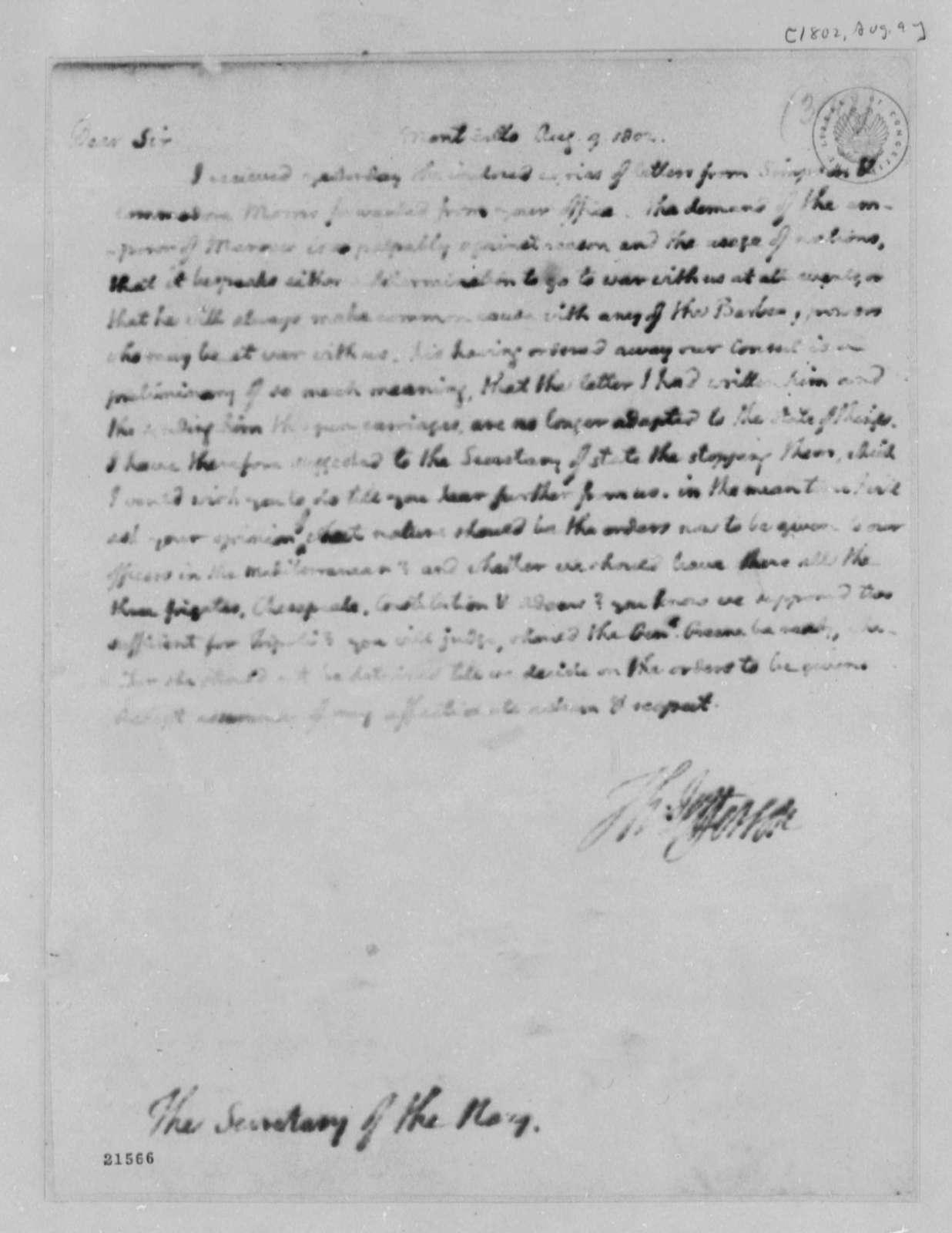 Thomas Jefferson to Benjamin Stoddert, August 9, 1802