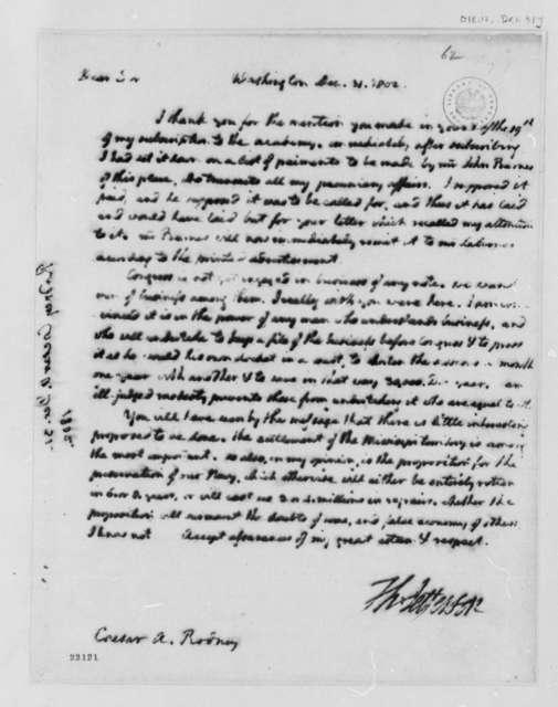 Thomas Jefferson to Caesar A. Rodney, December 31, 1802, Partial Transcription Available