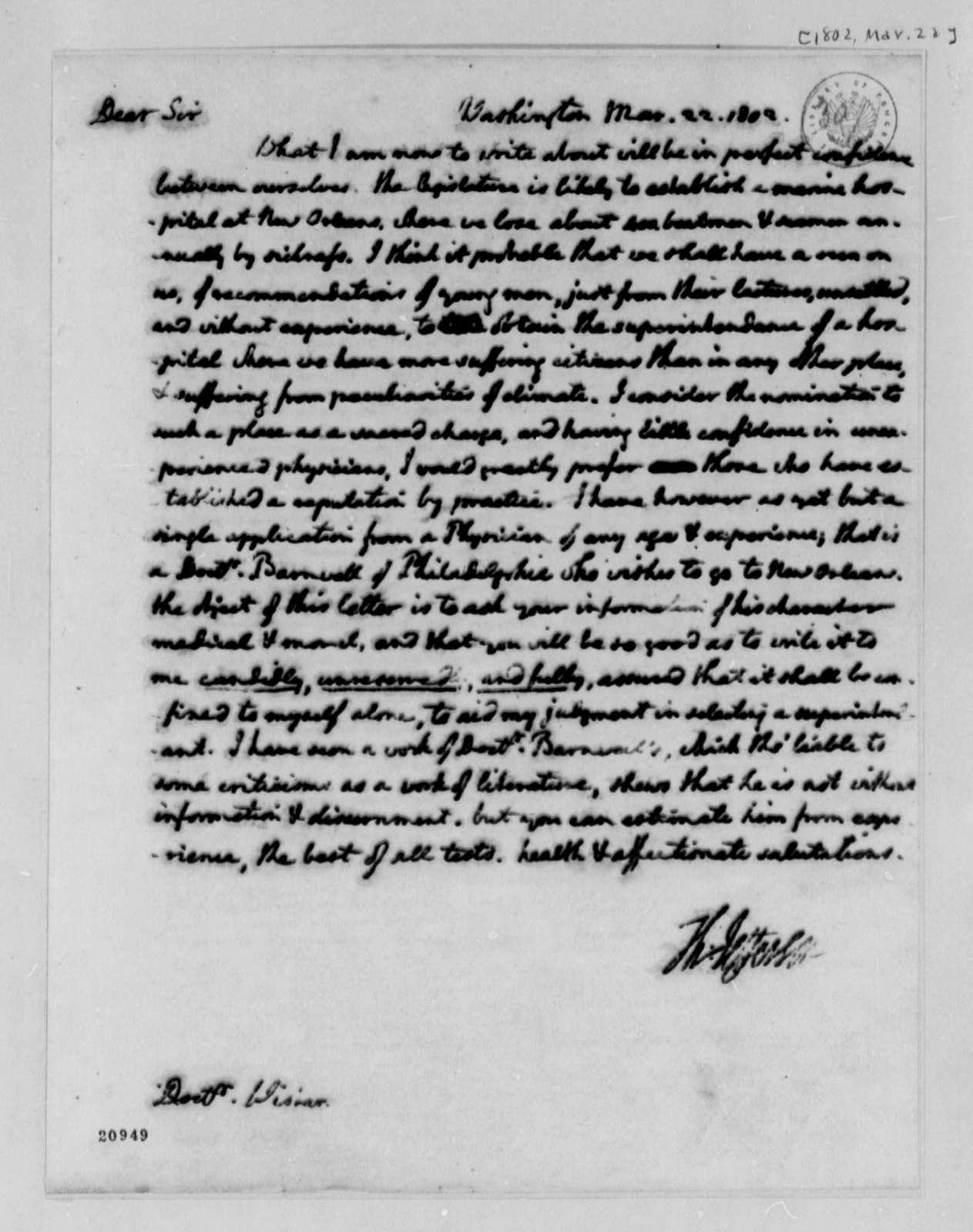 Thomas Jefferson to Caspar Wistar, March 22, 1802