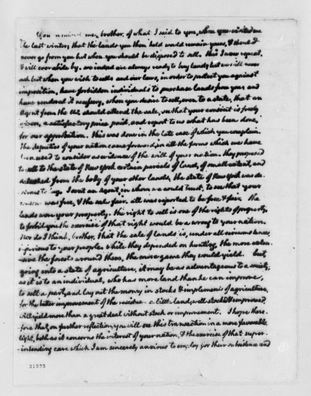 Thomas Jefferson to Chief Handsome Lake, November 3, 1802