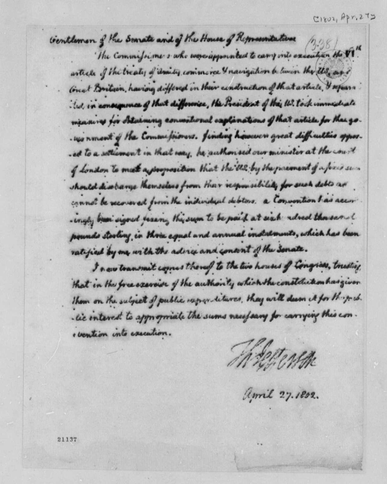Thomas Jefferson to Congress, April 27, 1802