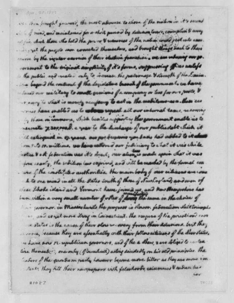 Thomas Jefferson to Count de Volney, April 20, 1802