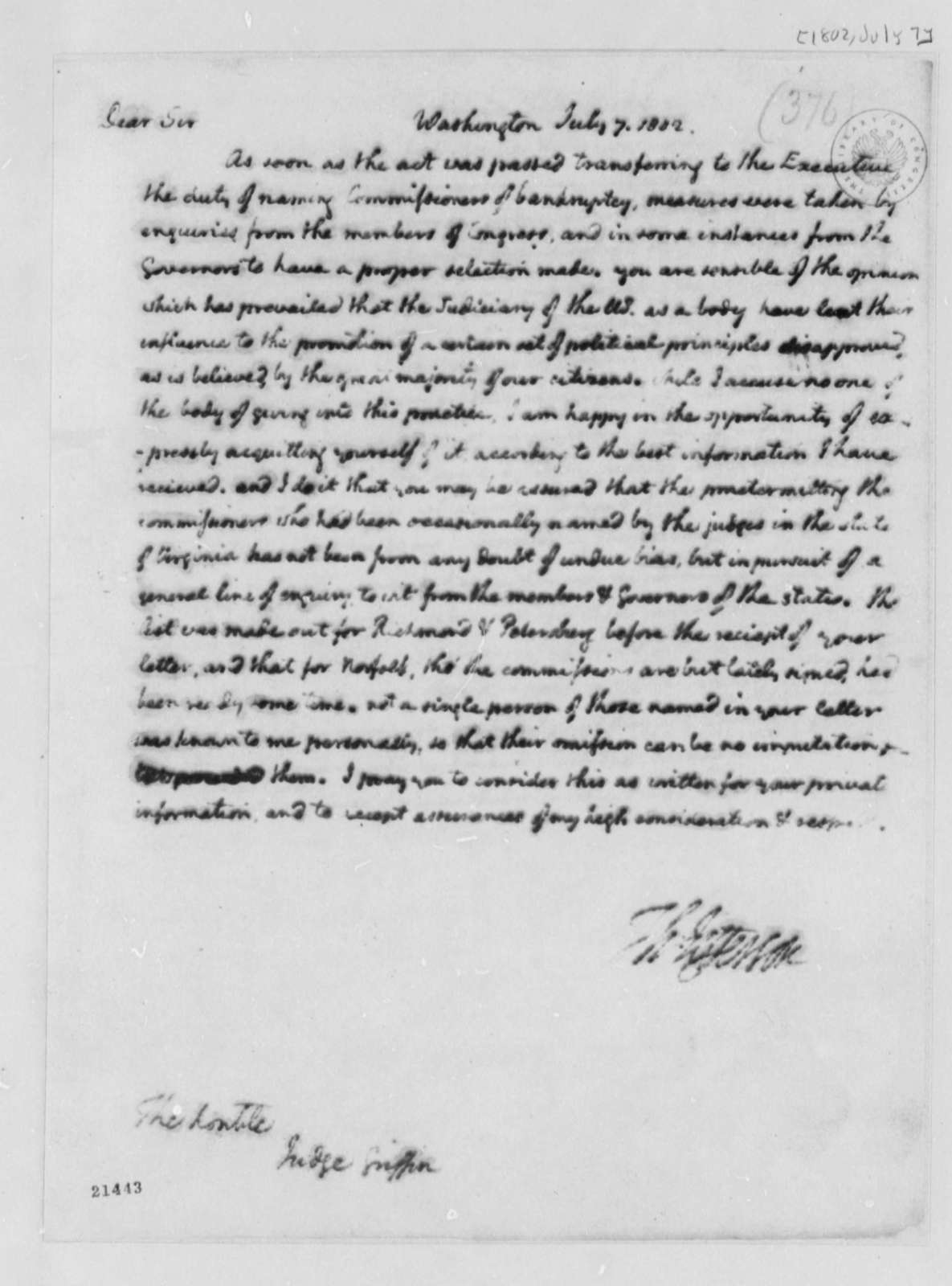 Thomas Jefferson to Cyrus Griffin, July 7, 1802