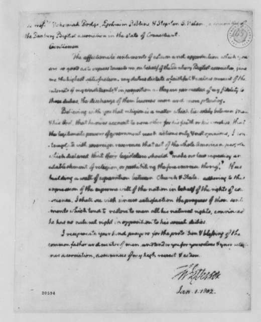 Thomas Jefferson to Danbury, Connecticut, Baptist Association, January 1, 1802, with Copy