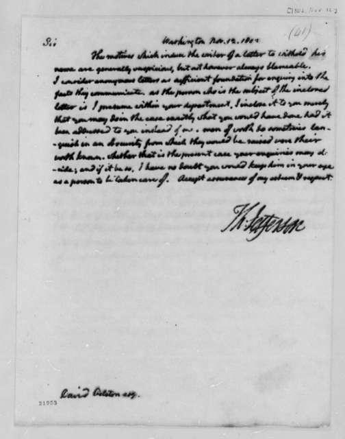 Thomas Jefferson to David Gelston, November 12, 1802