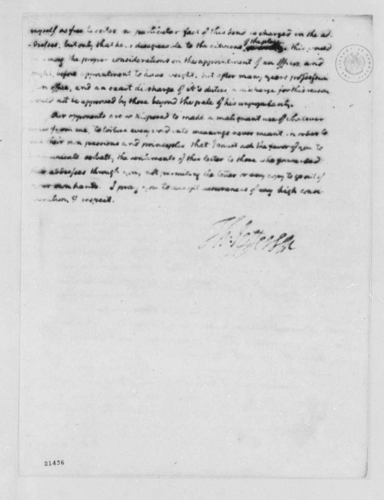 Thomas Jefferson to David Hall, July 6, 1802