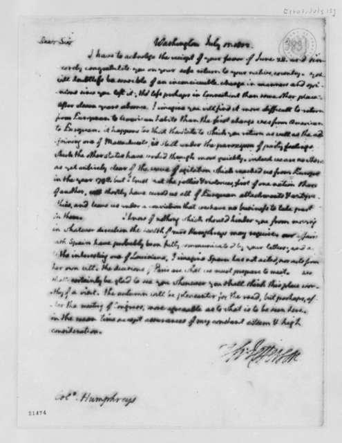 Thomas Jefferson to David Humphreys, July 15, 1802