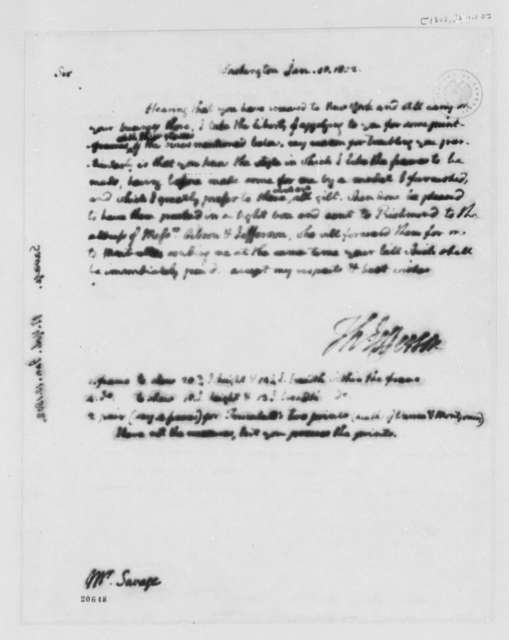Thomas Jefferson to Edward Savage, January 10, 1802