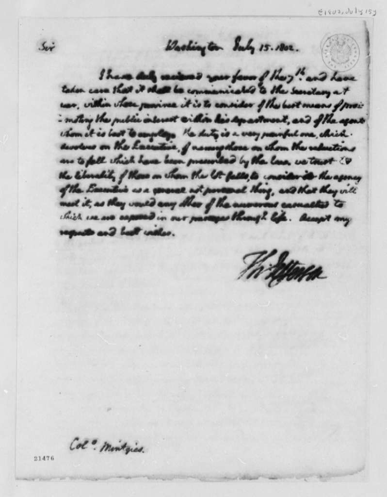 Thomas Jefferson to Francis Mentges, July 15, 1802