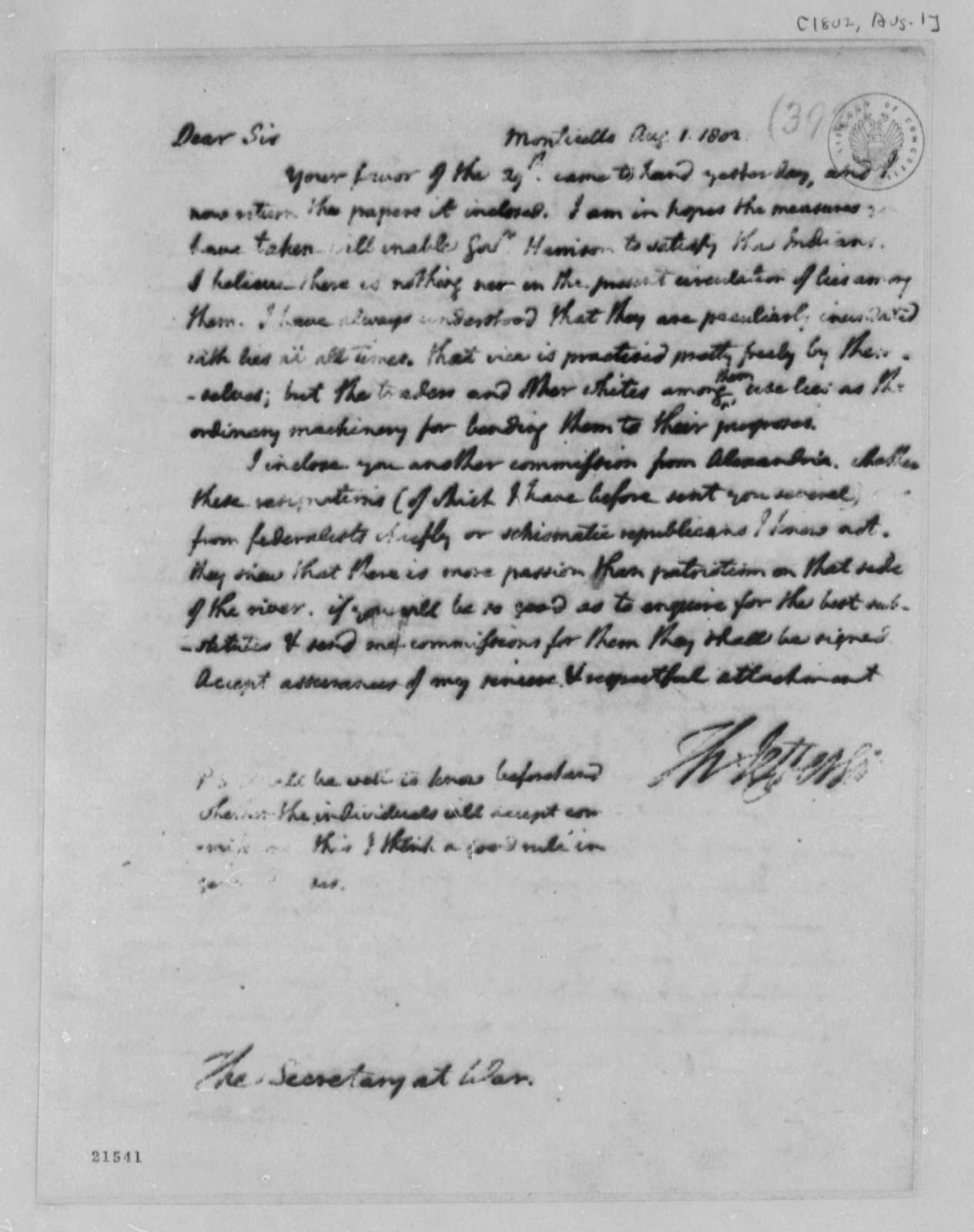 Thomas Jefferson to Henry Dearborn, August 1, 1802