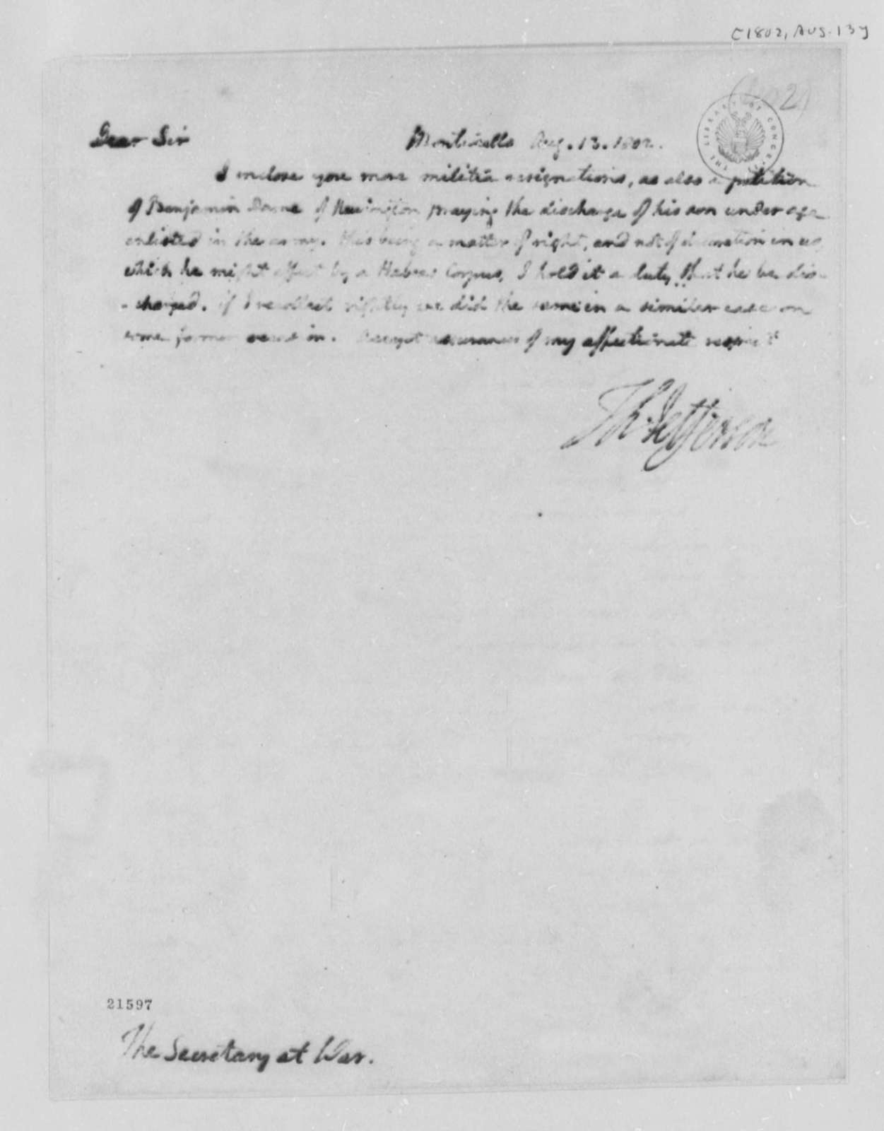 Thomas Jefferson to Henry Dearborn, August 13, 1802
