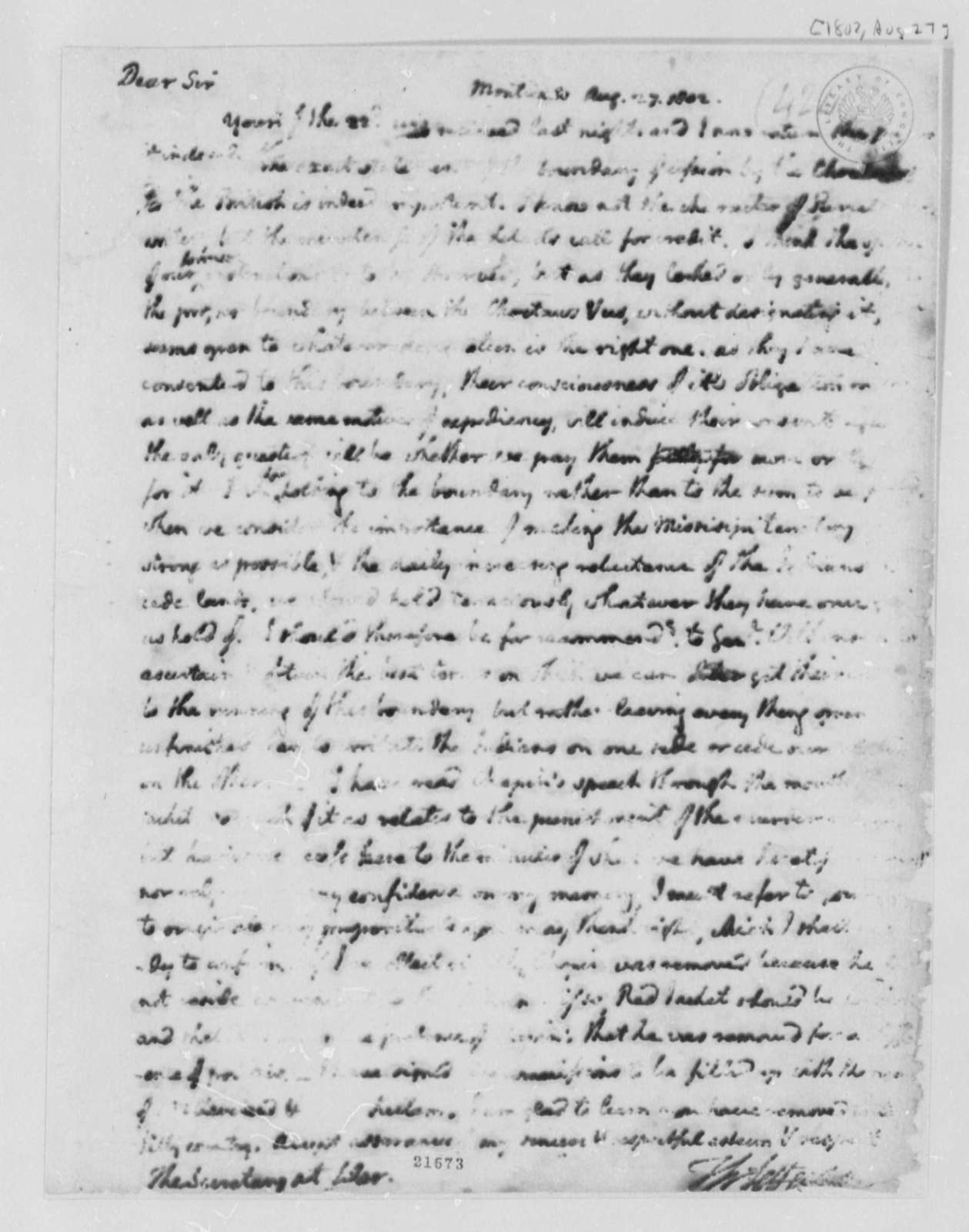 Thomas Jefferson to Henry Dearborn, August 27, 1802