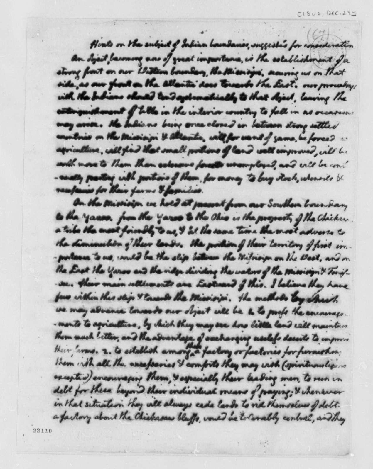 Thomas Jefferson to Henry Dearborn, December 29, 1802