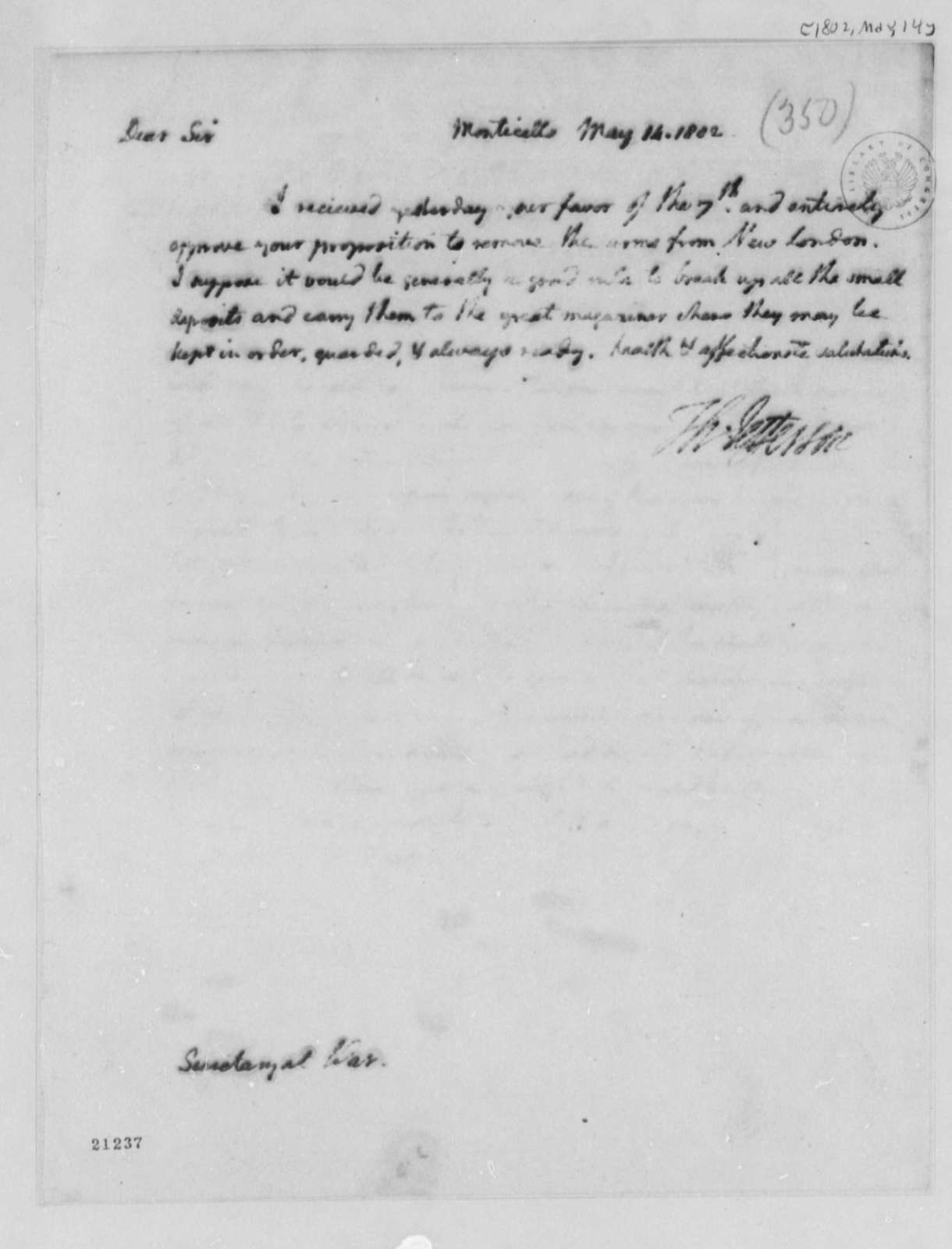 Thomas Jefferson to Henry Dearborn, May 14, 1802