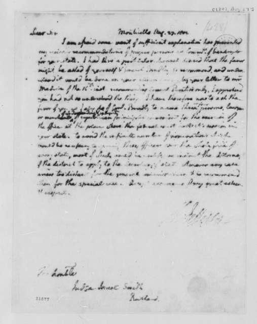 Thomas Jefferson to Israel Smith, August 27, 1802