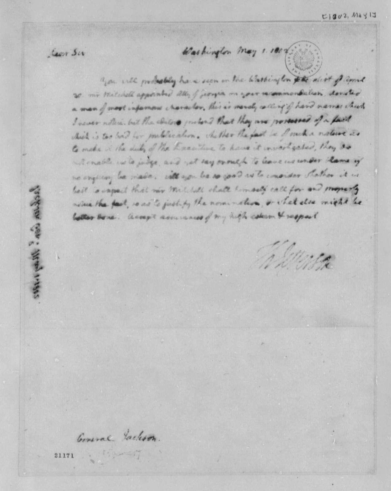 Thomas Jefferson to James Jackson, May 1, 1802