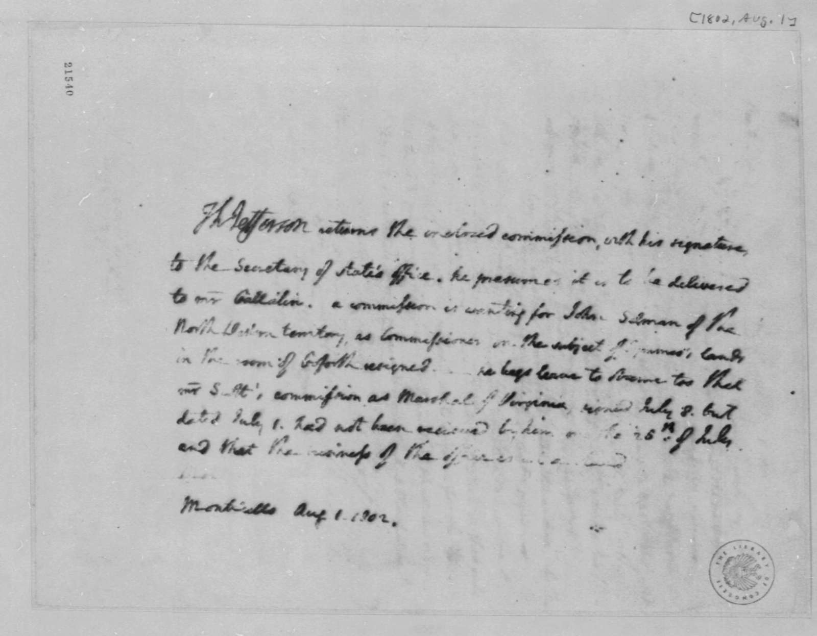 Thomas Jefferson to James Madison, August 1, 1802