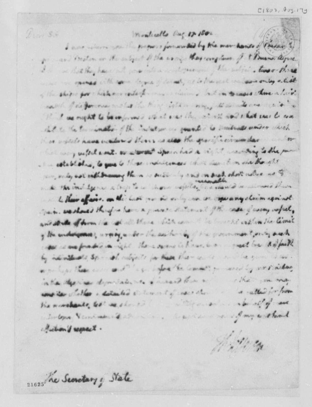 Thomas Jefferson to James Madison, August 17, 1802