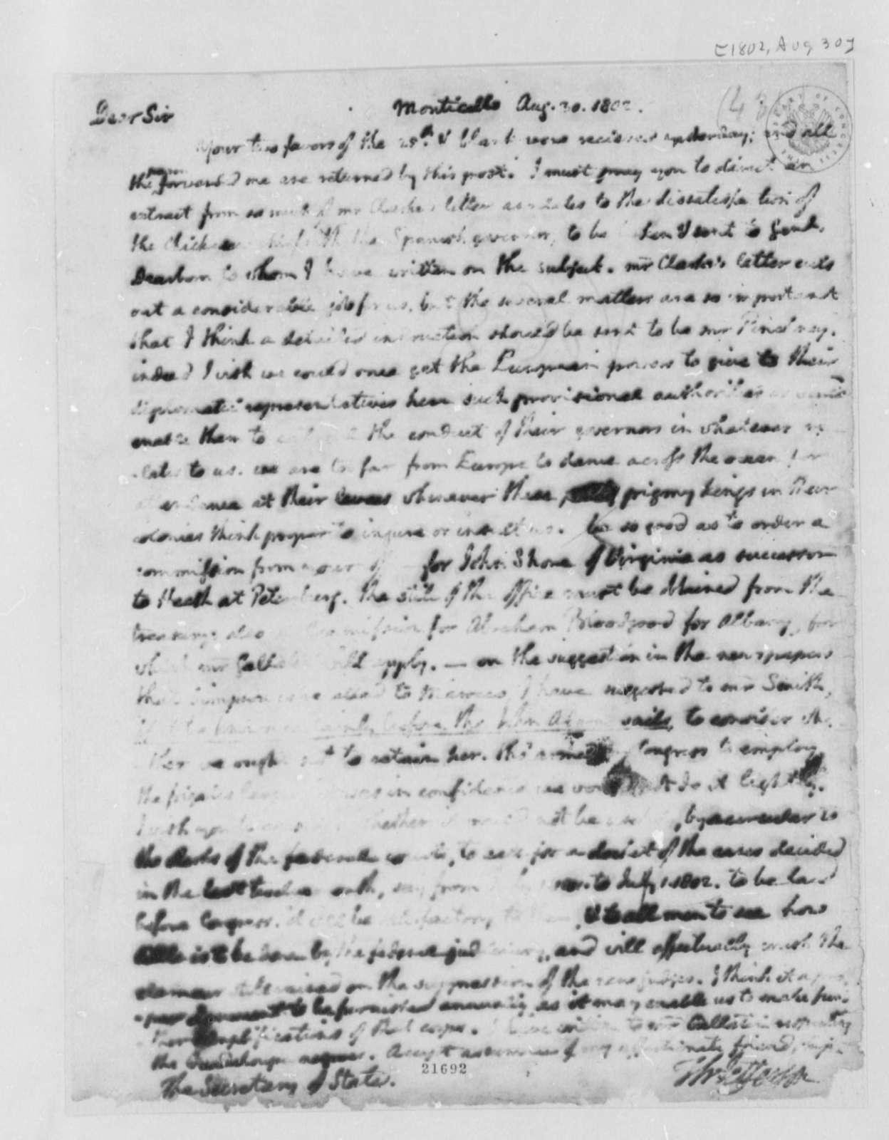 Thomas Jefferson to James Madison, August 30, 1802