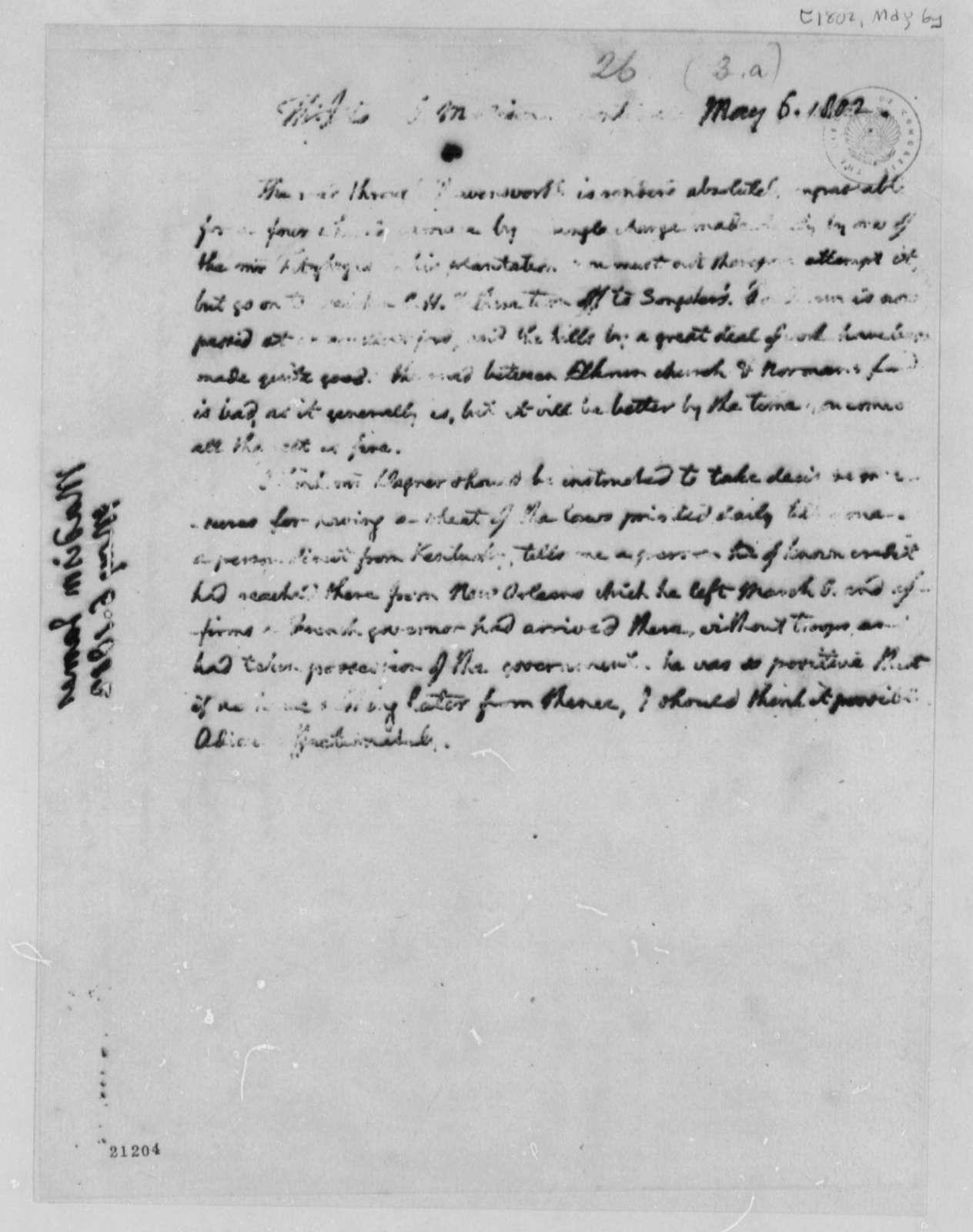 Thomas Jefferson to James Madison, May 6, 1802
