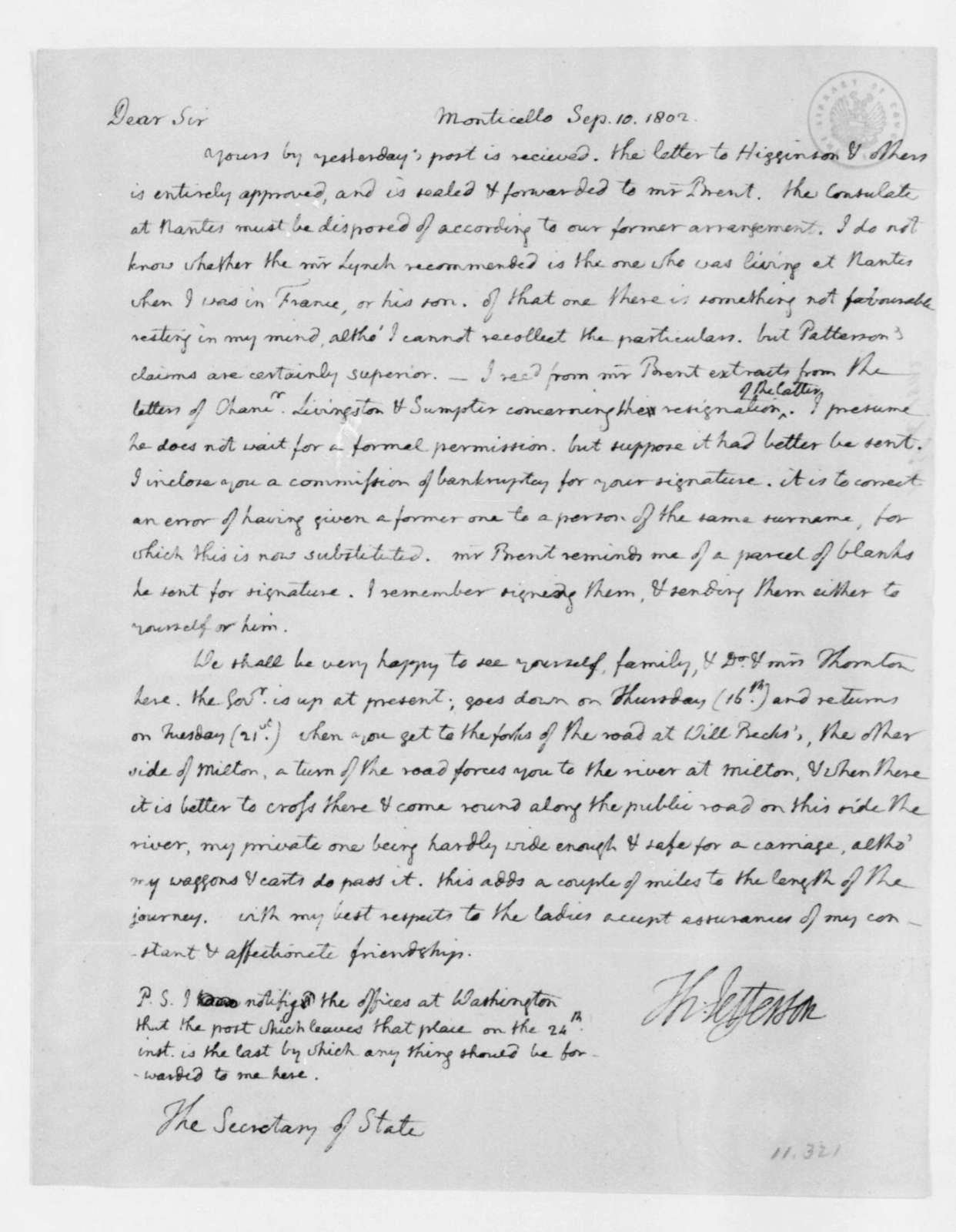 Thomas Jefferson to James Madison, September 10, 1802.