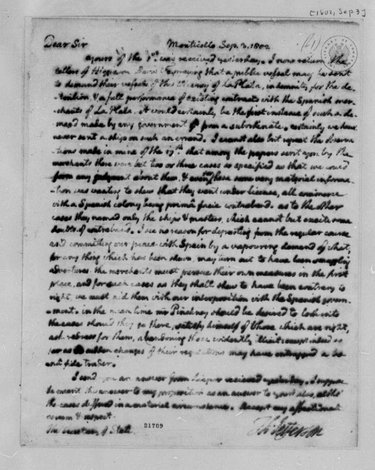 Thomas Jefferson to James Madison, September 3, 1802