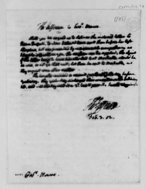 Thomas Jefferson to James Monroe, February 3, 1802