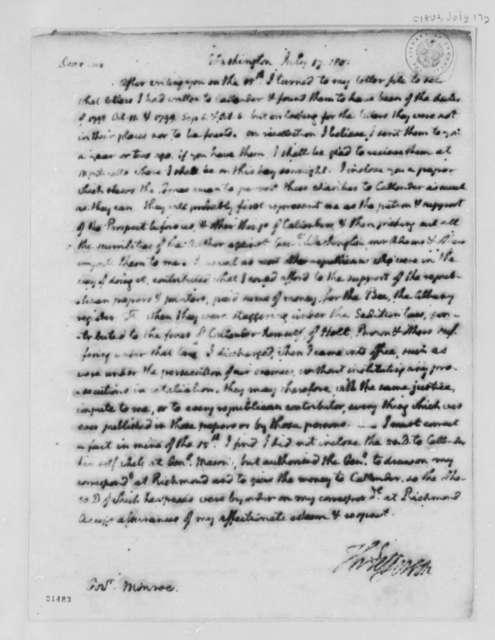 Thomas Jefferson to James Monroe, July 17, 1802
