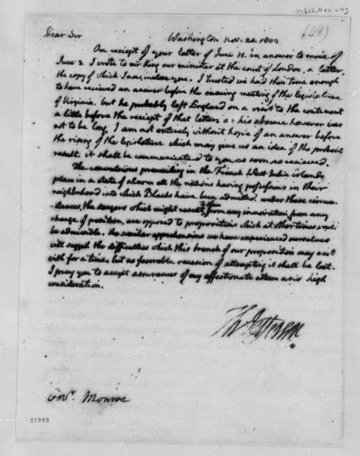 Thomas Jefferson to James Monroe, November 24, 1802