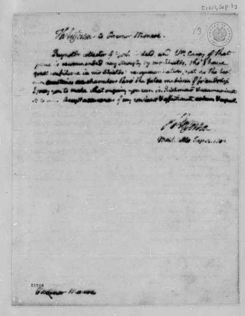Thomas Jefferson to James Monroe, September 3, 1802