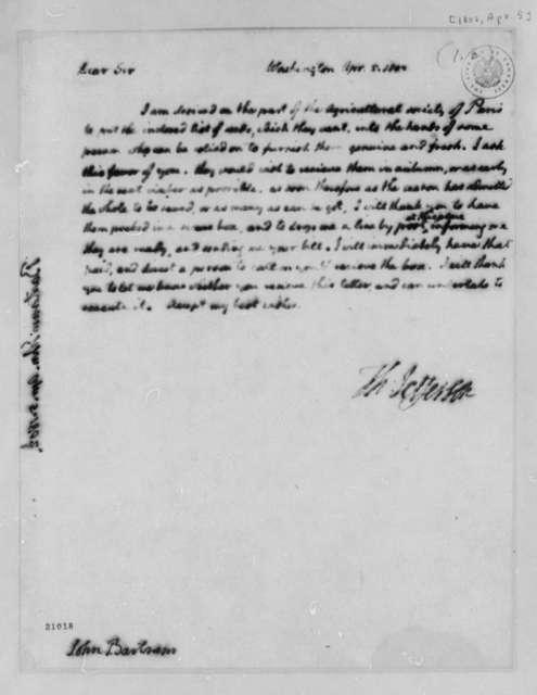 Thomas Jefferson to John Bartram, April 5, 1802