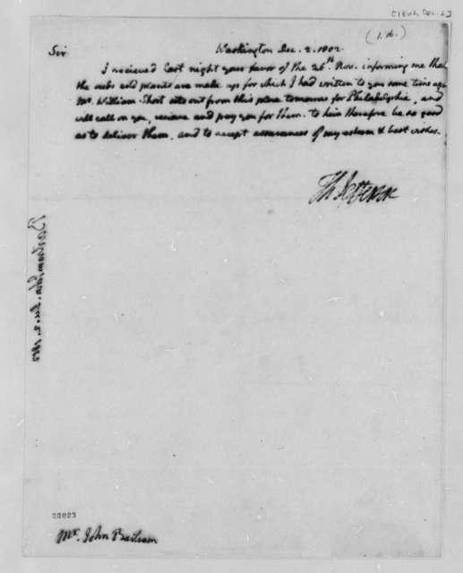 Thomas Jefferson to John Bartram, December 2, 1802
