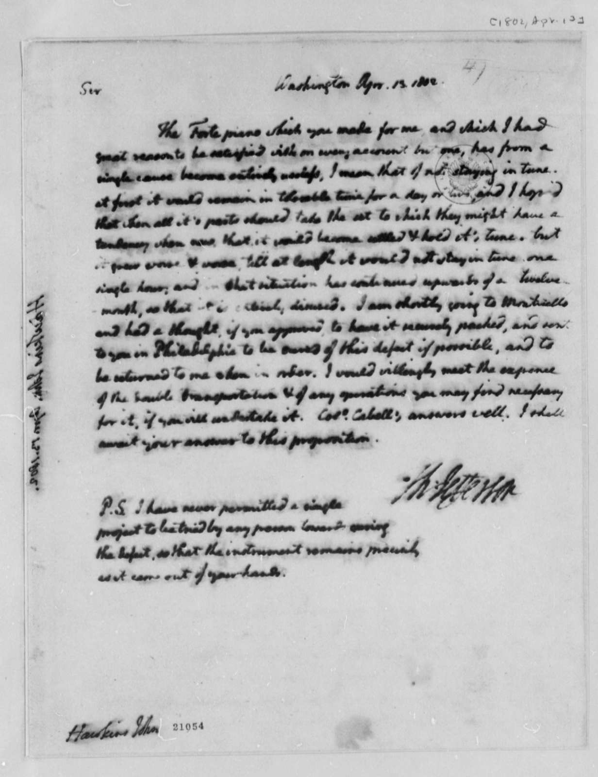 Thomas Jefferson to John Isaac Hawkins, April 13, 1802