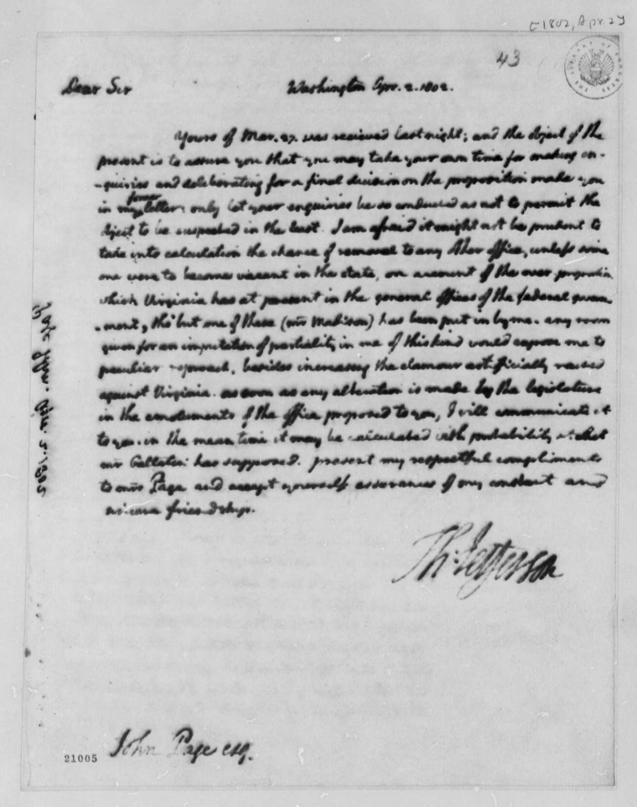 Thomas Jefferson to John Page, April 2, 1802