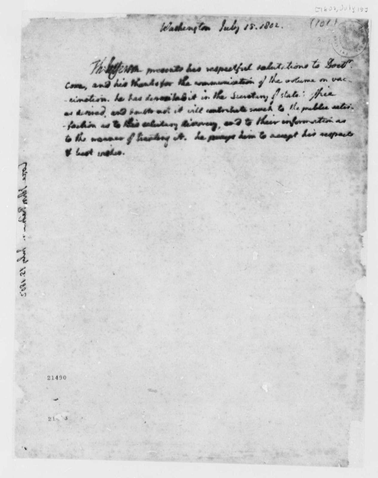 Thomas Jefferson to John Redman Coxe, July 15, 1802