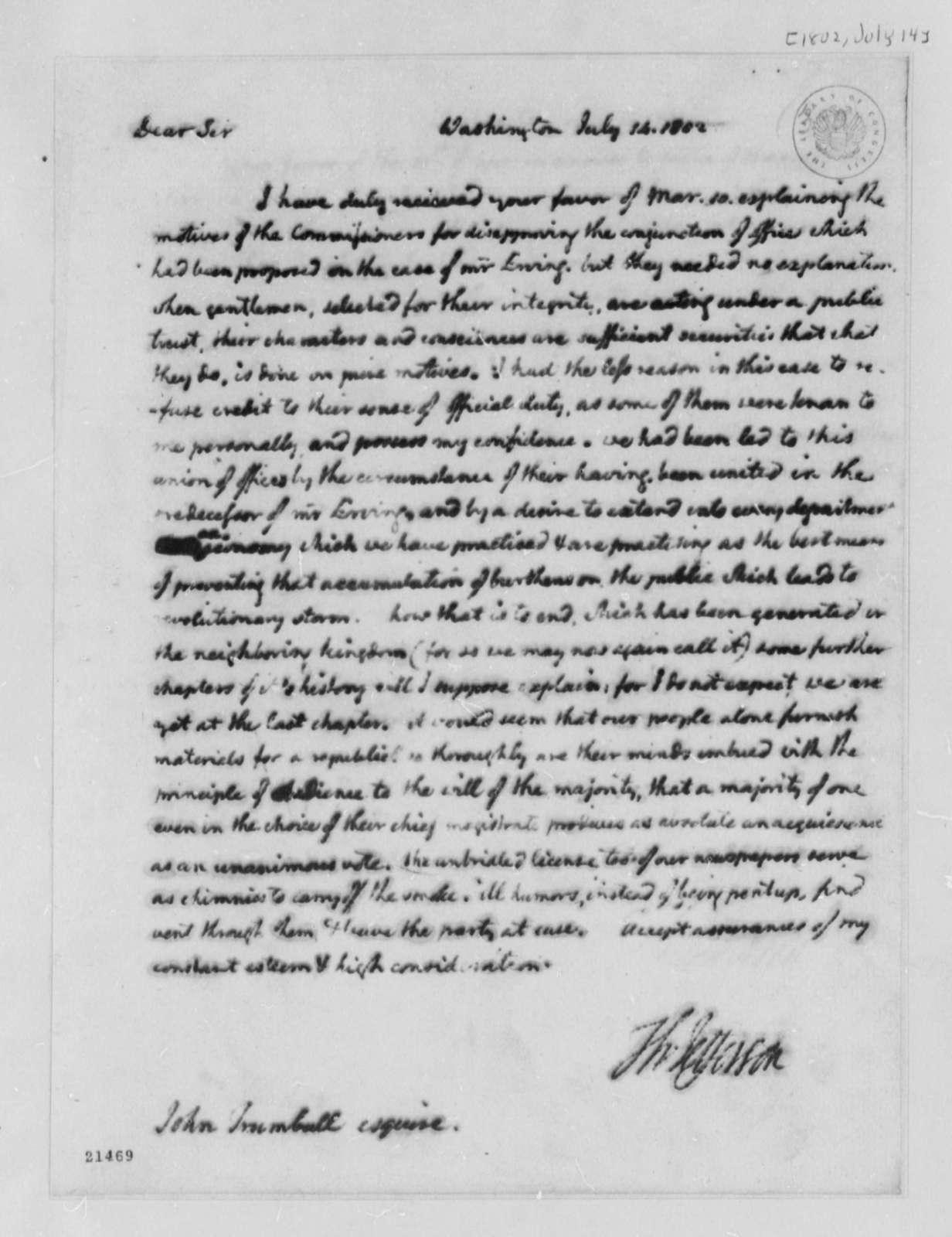 Thomas Jefferson to John Trumbull, July 14, 1802