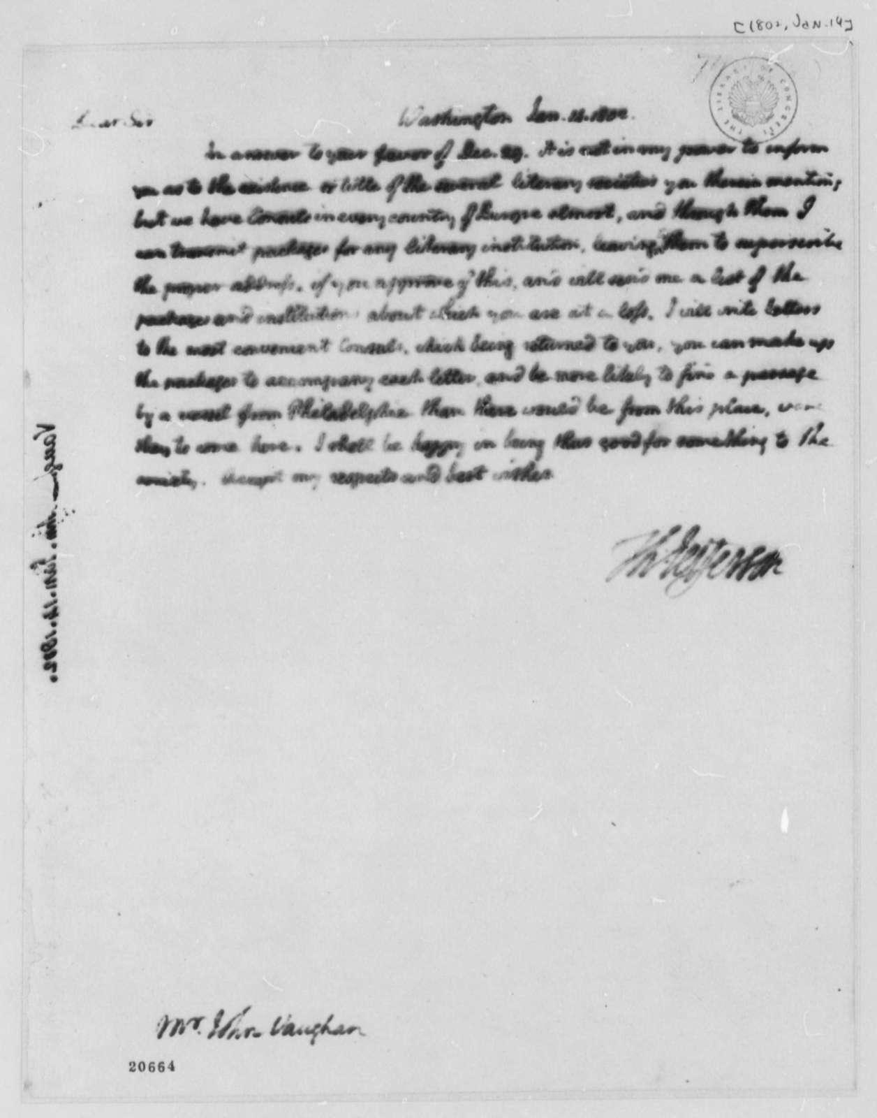 Thomas Jefferson to John Vaughan, January 14, 1802