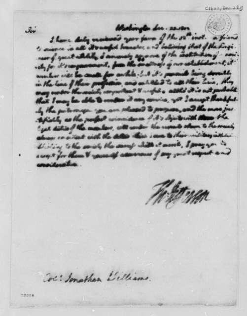 Thomas Jefferson to Jonathan Williams, December 23, 1802
