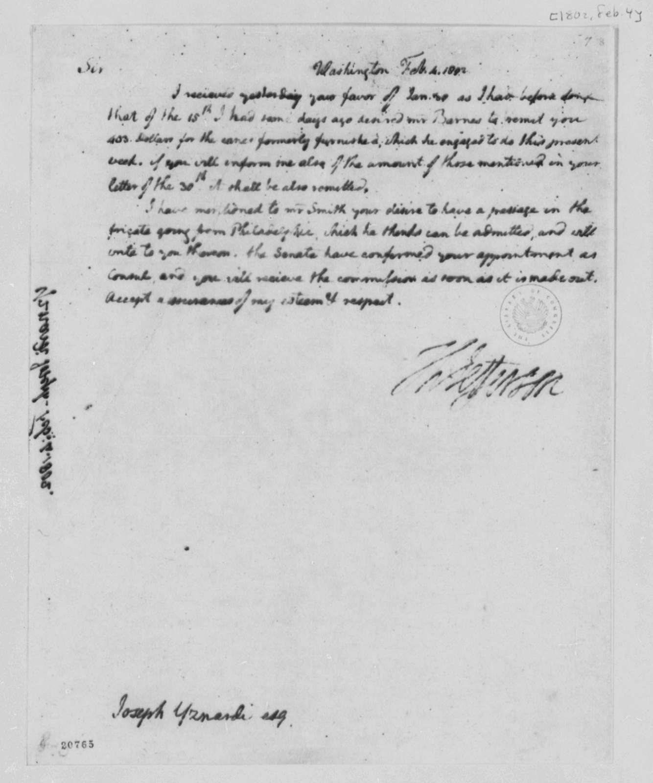 Thomas Jefferson to Josef Yznardi, February 4, 1802