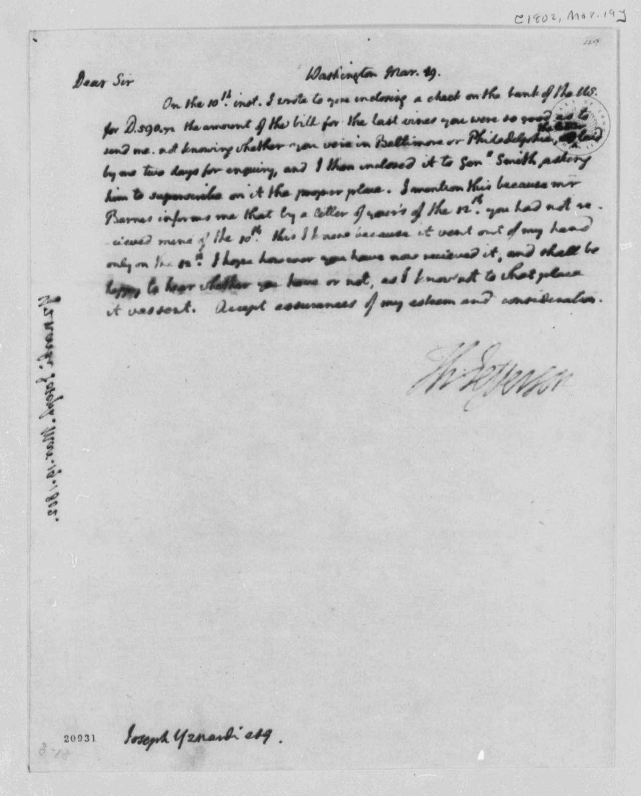 Thomas Jefferson to Josef Yznardi, March 19, 1802