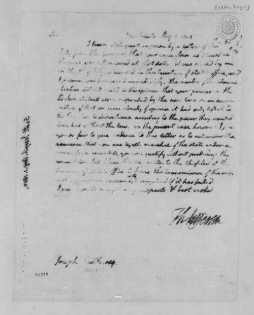 Thomas Jefferson to Joseph Scott, August 1, 1802