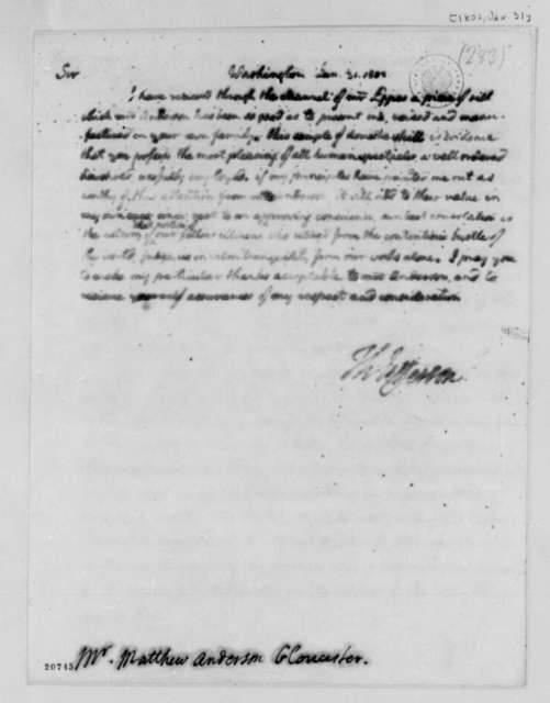 Thomas Jefferson to Matthew Anderson, January 31, 1802