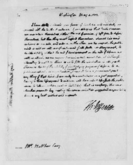 Thomas Jefferson to Matthew Carey, March 4, 1802