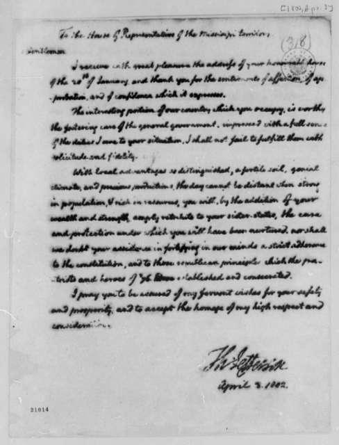 Thomas Jefferson to Mississippi House of Representatives, April 3, 1802