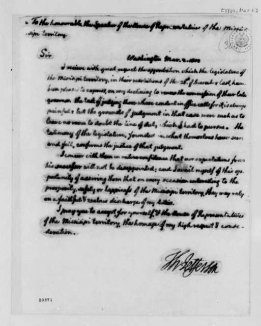 Thomas Jefferson to Mississippi House of Representatives, March 2, 1802