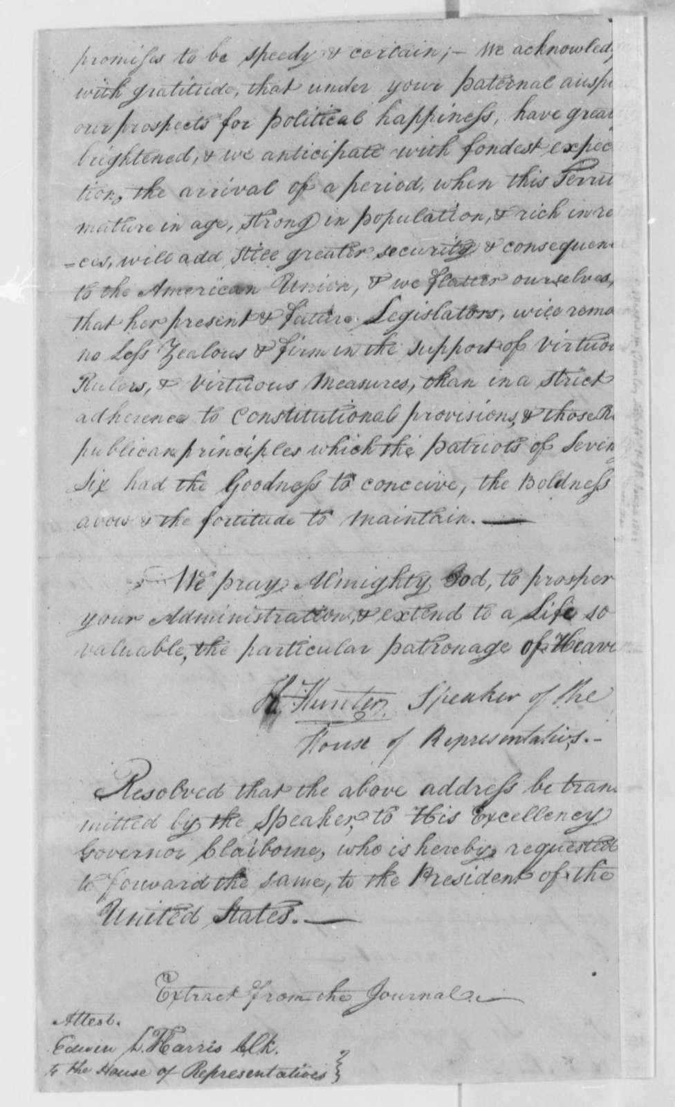 Thomas Jefferson to Mississippi Territory House of Representatives, January 20, 1802, Resolution